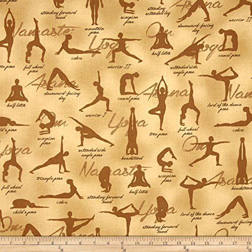 Kaufman Sports Life Yoga Positions Natural Fabric By The Yard