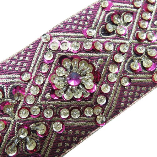 1 Yd Pink Hand Beaded Sequin Border Trim Ribbon Sewing