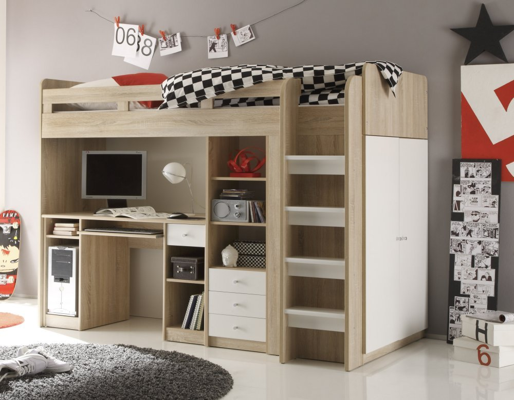 kinderbett hochbett kleiderschrank schreibtisch united eiche weiss 90 200 cm kritiken und. Black Bedroom Furniture Sets. Home Design Ideas