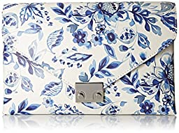 LOEFFLER RANDALL Lock Printed Leather Clutch, Porcelain Print, One Size