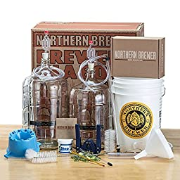 Deluxe Home Brewing Starter Kit Glass Carboys w/ Caribou Slobber Brown Ale Beer Recipe Kit