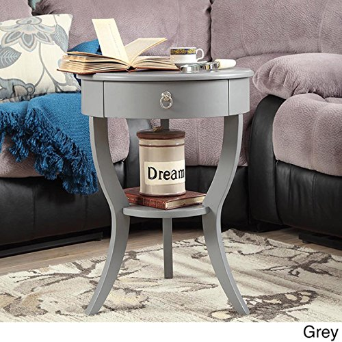 Tripod Round Wood Accent Table (Grey)
