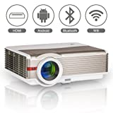 Wireless LED LCD Smart Android Bluetooth Projector with Wifi Airplay HDMI, WXGA 4200 Lumens Multimedia HD 1080P Outdoor Movie Theater Home Video Cinema Projectors, iPhone iPad Smartphone TV Projector