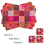 Table Mats with Coasters set of 12 peices Print ambi