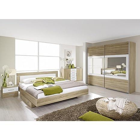 rauch Schlafzimmer-Set Venlo 6tlg. Eiche Sonoma Nb., Abs. weiß B/H/T CA.271/210/62CM