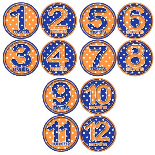 ORANGE BLUE POLKA DOTS Baby Month Onesie Stickers Baby Shower Gift Photo Shower Stickers, baby shower gift by OnesieStickers