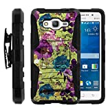 Galaxy Grand Prime Case, Galaxy Grand Prime Holster, Two Layer Hybrid Armor Hard Cover with Built in Kickstand for Samsung Galaxy Grand Prime SM-G530H, SM-G530F (Cricket) from MINITURTLE | Includes Screen Protector - Yellow Purple Flowers