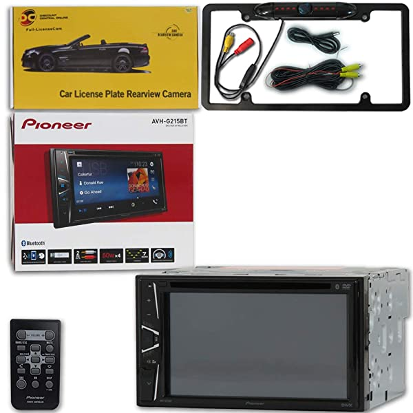 Pioneer AVH-G215BT Car Audio Double Din 2DIN 6.2 Touchscreen DVD MP3 CD Stereo Built-in Bluetooth with DiscountCentralOnline FL09BK Full License Plate Night Vision Waterproof Back-up Camera (Tamaño: FL09BK Full License Plate [Black])