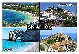 SOUVENIR FRIDGE MAGNET - SKIATHOS GREECE 9cm x 6cm (3½ x 2½ inches) Jumbo