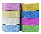 "HipGirl 8 x 4.5yd 5/8"" Glitter Sparkle Washi Tape for Christmas Gift Wrapping"
