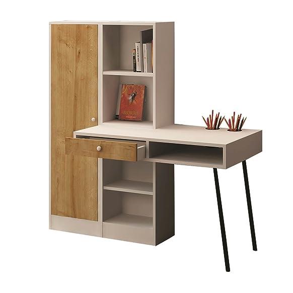 Scrivania in legno con cassetto e biblioteche Starck–140x 140cm–bianco e beige