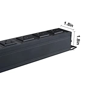 16 Outlets Heavy Duty Metal Power Strip with 9.8ft Cord and Power Switch Control, Rack Mount PDU Power,Offers 1U/15A/125V, 1875W Maximum Power,Black (Tamaño: 1U-16 Outlets-black)