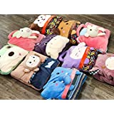 "ShopyBucket Cute Animal Face Baby Bag Cum Super Soft Velvet Covering Blanket Size 42 X 56""(Item Will Be Shipped To Any Of One)"