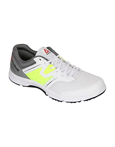 7343ee2195ca ... Reebok Men s White Flay Grey Neon Yellow Running Shoes - 7 UK India Reebok  Women s ...