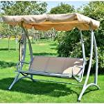 Outsunny Three-Seat Metal Swing Chair...