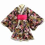 浴衣ドレス 桜と蝶々柄 女の子 上着+スカート シフォン帯 セット 黒 150