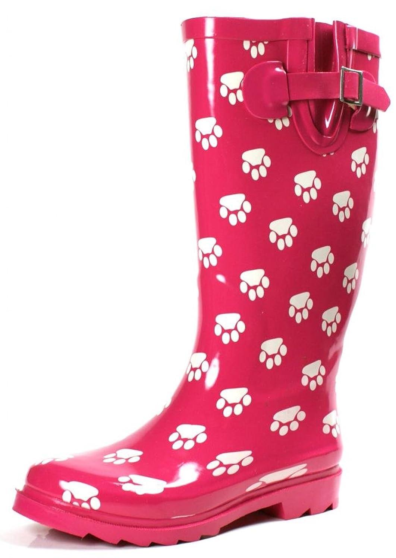 Townforst Women's Rubber Puddle Rain Boot Midcalf Waterproof Wellies Flat Pink Footprint imc pair ladies swirl circles print waterproof over shoes rain boot size m
