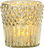 Luna Bazaar Candle Holder (3-Inch, Diamond Top Design, Gold Mercury Glass) - For Home Decor and Wedding Decorations - For Use with Tea Light Candles