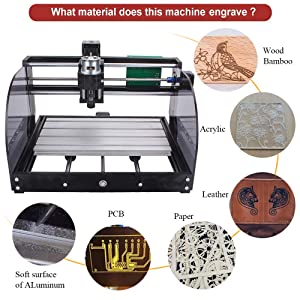 2-in-1 5500mw Laser Engraver CNC 3018 Pro-M Engraving Machine, GRBL Control 3 Axis Mini CNC Router Kit + Offline Controller + Router Bits, Working Area 300x180x45mm, for Wood Plastic Acrylic PVC (Tamaño: 3018 Pro-M + 5500mw Laser)