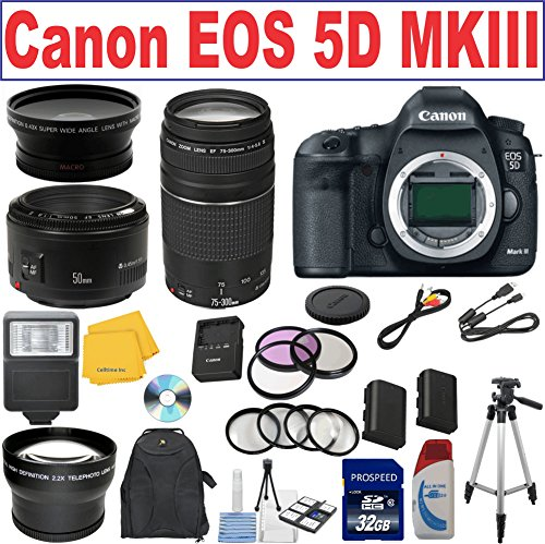 Canon Eos 5D Mark Iii Full-Frame Cmos Digital Slr Camera W/ Canon Ef 75-300Mm F/4-5.6 Iii Telephoto Zoom Lens + Canon Ef 50Mm F/1.8 Ii Slr Lens Lp-E6 Replacement Lithium Ion Battery W/ External Rapid Charger 32Gb Sdhc Class 10 Memory Card 58Mm Wide Angle