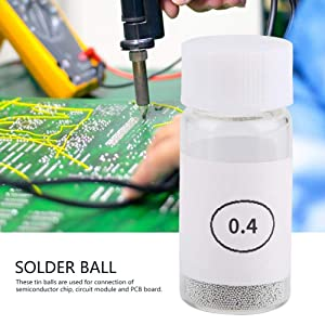 Tin Solder Ball BGA Lead-Free Reballing Soldering Heat Universal Stencil Balls for GPU CPU IC Chip PCB(0.4mm)