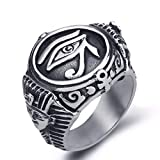 JAJAFOOK Mens Stainless Steel Ring Egyptian Pharaohs Eye of Horus Udjat Silvery Tone Jewelry Size 6-14 (Color: Silvery)