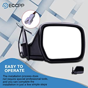 ECCPP Door Mirror Driver Left Side for 1996-1998 Lexus LX450 1990-1997 Toyota Land Cruiser 1990 Built After 2//90 Production Date Power Adjusted Manual Folding Side Mirror