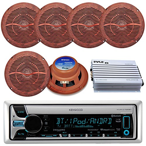 Kenwood KMR-D765BT Bluetooth CD MP3 USB AUX AM/FM Marine Boat Stereo Receiver 6x 6.5 Dual Cone Marine Speakers 4 Ch Waterproof 400 Watt Amplifier