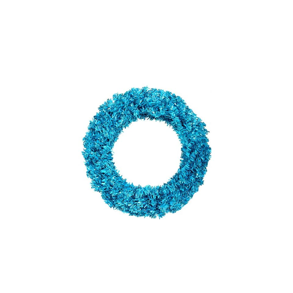 36 Pre Lit Sky Blue Wide Cut Artificial Christmas Wreath   Blue Lights