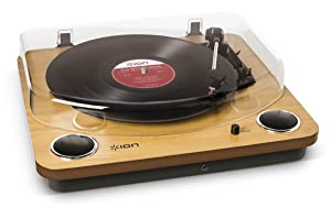 Ion Audio Max LP 3-Speed Belt Drive Wooden Turntable with Built-In Speakers