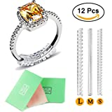 Ring Size Adjuster,Ring Guard Ring Size Reducer for Loose Rings,3 Sizes for Any Rings,Set of 12 with Jewelry Polishing Cloth