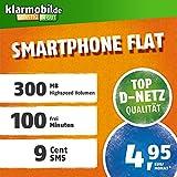klarmobil Smartphone Flat S in D-Netz Qualität SIM-Karte (Micro-SIM und Nano-SIM, Aktivierungscoupon, 100 Frei-Minuten in alle deutschen Netze, 300MB Highspeed Internet, 24 Monate Laufzeit)