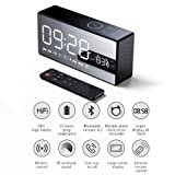 QLPP Bluetooth Alarm Clock Speaker with Built-in MIC and Adjustable Bass 10W Powerful Hi-Fi Sound Remote Control DSP for TV PC Cellphone Tablets