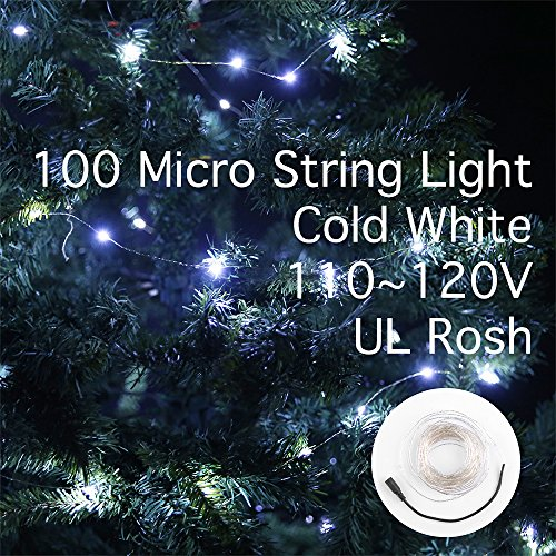Lidore® Micro Led 100 Cold White Color Lights On 16 Ft Long Silver Ultra Thin String Wire