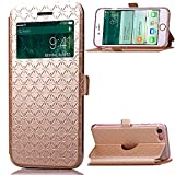 iPhone 7 Plus Case, iPhone 7 Plus leather Case, Carryberry Quilted Plain Color Window View Function PU Leather Flip Folio Book Style Card Slots Kickstand Wallet Phone Case for iPhone 7 Plus,Gold
