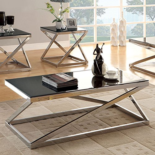 Zogra Contemporary Style Chrome Finish Coffee Table