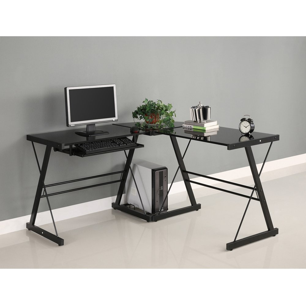 Black Glass Computer Home Office Furniture Workstation Desk Table