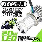 GTX製 バイク専用 LEDヘッドライト ブルー型 H4/PH7/PH8対応 CREEチップ採用 20W 1900ルーメン エコ 省エネルギー化対策 6000K
