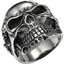 buy Hooami Skull Bone Gothic Vintage Biker Stainless Steel Men'S Ring Silver Black,Size 13