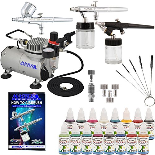 Master Airbrush ABD KIT-WBFP-16-20 Art Professional Airbrush Face and Body Art Paint Airbrushing System Kit with Standard Compressor (09 Items) (Airbrushing Machine compare prices)