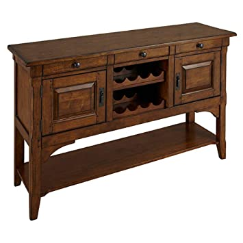 Sideboard with Wine Storage in Warm Pecan Finish