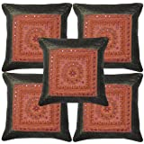Lalhaveli Indian Silk Cushion Cover Set Adorn Embroidery Mirror Covers 17 X 17 Inches