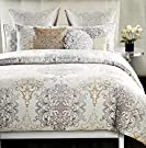 Tahari Home 3pc Full / Queen Duvet Cover Set Large Medallion Grey Taupe White Luxury Cotton Sateen