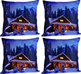 Paramount Art Satin 4 Piece Cushion Cover Set - 16'' x 16'', Blue