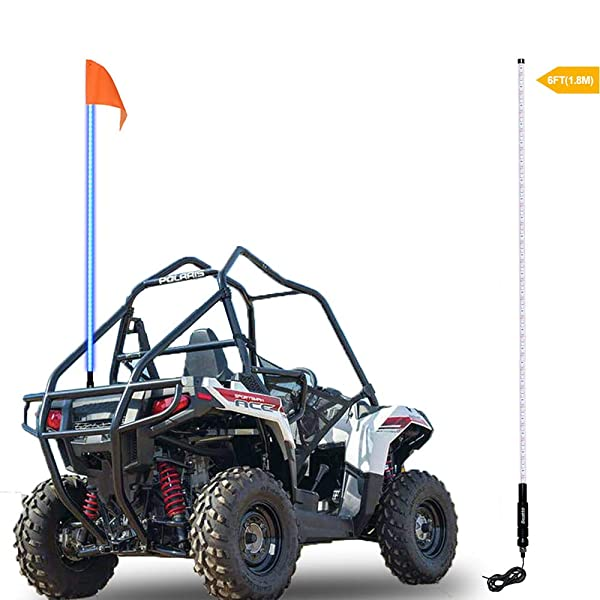 AL4X4 4FT LED Whip Lights 360/°Spiraling Rising Dream Wrapped Dancing Whips Bluetooth Controlled with Music Mode for Polaris RZR ATV Antenna Whip UTV Quad Sand Dune Buggy Flag Poles One Pair