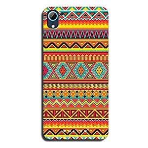 Mozine Orange Tribal Pattern printed mobile back cover for HTC desire 826