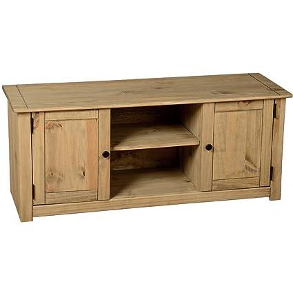 Panama - Mueble para televisor (acabado en pino encerado, 2 puertas)