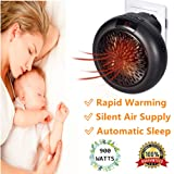 Heater Mini Fan Heater Wall Outlet Electric Space Instant Heater with Adjustable Timer Digital Display 1000W Electric (Black)