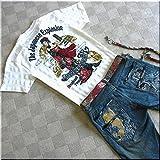 mts050 和柄 Tシャツ TATOOガール タトゥーガール TATOO ガール ポロシャツ 着物【L/白】 メンズ 半袖 Tシャツ 半袖Tシャツ