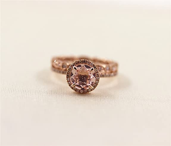 Voguegem 2pcs 14ct Rose Gold Ring set with 7MM Morganite gemstone and Milgrain Bezel Pave Diamonds Wedding band